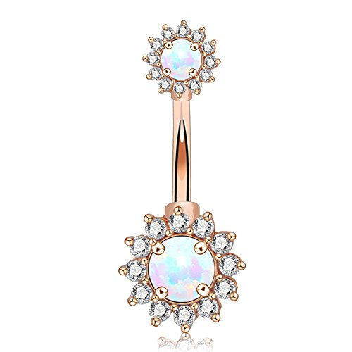 OUFER 14G Double Round Cubic Zircon Filigree Opal Center 316L Surgical Steel Belly Button Rings Navel Rings Belly Piercing