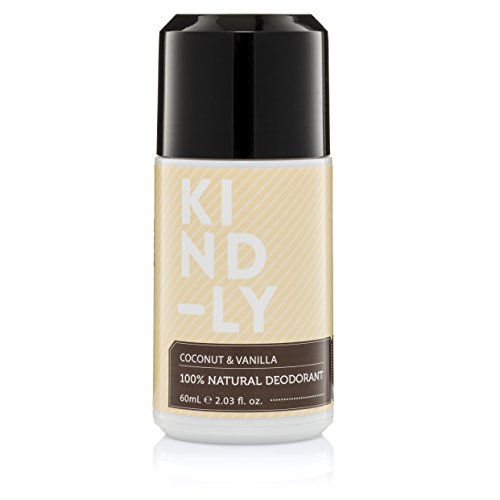 KIND-LY 100% Natural Probiotic Magnesium Deodorant Roll-On (Coconut & Vanilla). Aluminium Free, Paraben Free; Organic, Vegan, Strong All Day Protection, Australian Made (60ml/2.03 fl.oz)