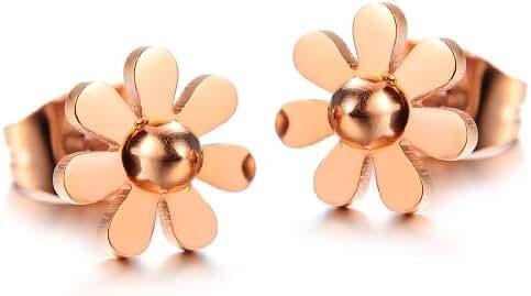 Women's Earrings Rose Gold Little Daisy Titanium Steel Earrings Stud Earrings in a Gift Box