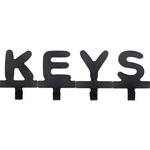 Adhesive Wall Hooks and Keys Holders - Self Adhesive Keys Racks - Without Drilling - Easily Install, Letter Keys - 4 Hooks Metal Tile Letter Holder