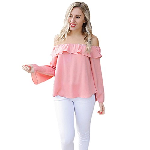[DKmagic Women Fashion Off Shoulder Tops Solid Blouse Long Sleeve T-Shirt (L)] (Price Is Right Halloween Costumes 2016)
