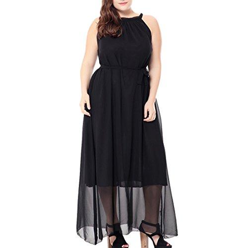 Femmes En Mousseline Taille Robes Maxi Robe Halter Soirée Line Grande Bal 44 Soie De A Noir 56 xYq0x
