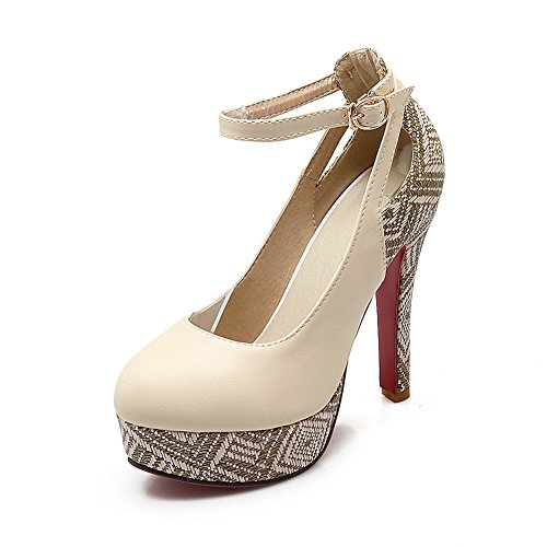 BalaMasa Womens Studded Rhinestones Metal Buckles Ankle Cuff Imitated Leather Pumps-Shoes Beige 0lxvrC