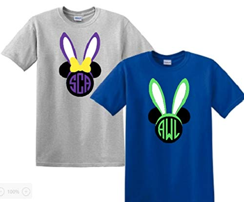 Mouse With Bunny Ears Monogrammed Shirt Easter Bunny