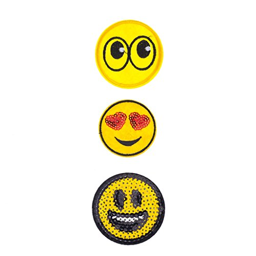Lux Accessories Emoji Faces Novelty Iron Patches Set (3PCS) from Lux Accessories