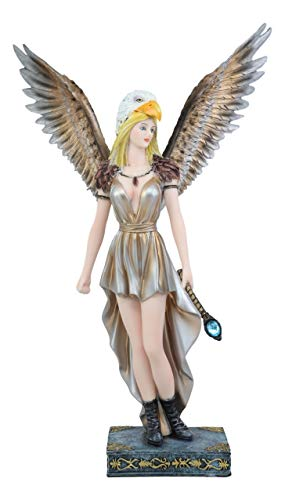 Ebros Large Mythical Goddess Tribal Warrior Medicine Fairy with Eagle Head Headdress Statue 14.75