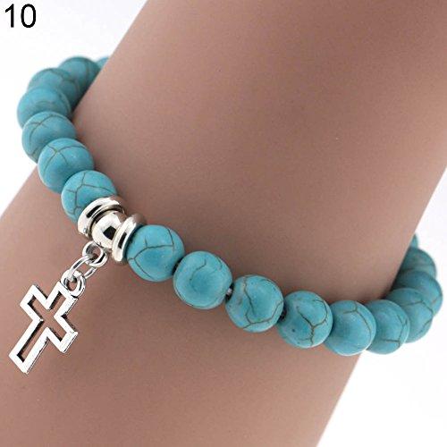 (gu6uesa8n Boho Round Turquoise Beads Bracelet Strand Charm Bracelet Chain with Pendant for Women Girls Hand Catenary Jewelry - 10# )