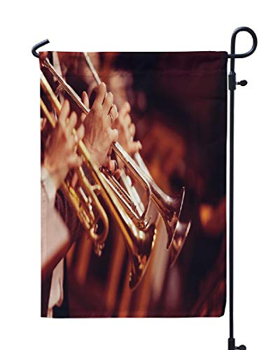 LILYMUA Musician Garden Flag, Jazz Band Trumpet Brass Orchestra Music Musician Playing Wind Seasonal Garden Flags 12''x18'' Outdoor Decorative Flags Weatherproof Flag Double Sided Flags for Garden