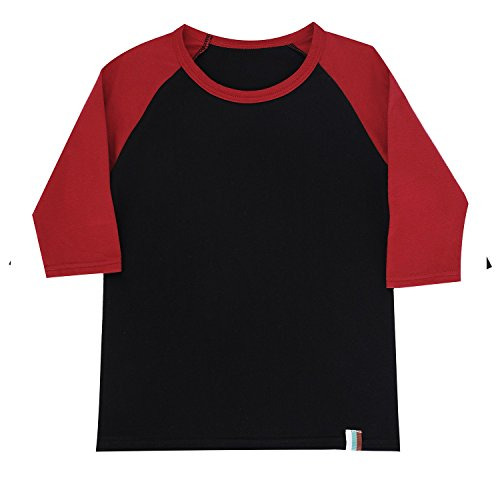 Raglan Tshirt for Boys Fine Cotton Tee Boys Baseball Tee 3/4 Sleeve Contrast Shirt S Red/Black