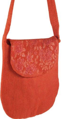Guru-Shop Filztasche `Sommer`, Herren/Damen, Orange, Wolle, Size:One Size, 33x28x4 cm, Handtasche, Einkaufstasche, Schultertasche Handarbeit