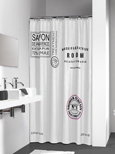 180x200 cm Poli/éster Blanco Sealskin Savon de Provence Cortina de Ducha