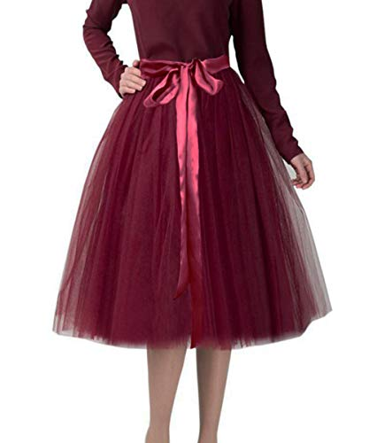 CahcyElilk Knee Length Tulle Skirt Midi Burgundy Tutu Tulle Prom Princess Party Dance Skirt with Belt Burgundy Large ()