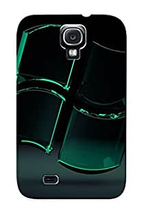 Premium Protection Green Glass Windows Logo Case Cover With Design For Galaxy S4- Retail Packaging