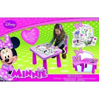 Disney MINNIE MOUSE SIT AND COLOUR DRAWING COLOURING ART DESK TABLE CHAIR PLAY SET XMAS GIFT