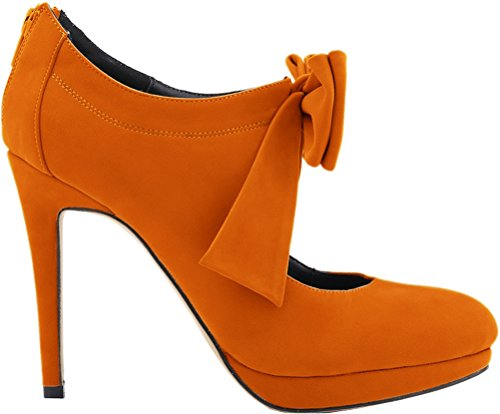 CFP YSE-806H-2RB Womens Charm High Heel Simple Bowtie Dress Leisure Platform Round Toe Elegant Strappy Back Zipper Lightweight Cozy Mary Jane Retro Style Lovely Orange TeEaBf4f