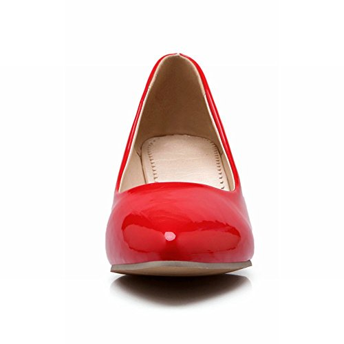 Carol Zapatos Fashion Mujeres Pointed-toe Sexy Cuff Nupcial Chunky Tacón Medio Party Bombas Zapatos Rojo