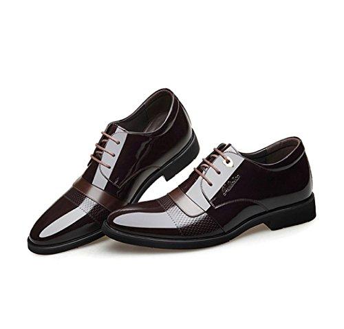 Cuir en Chaussures Chaussures Hommes pour Cuir Brown Verni en LEDLFIE wEx6qBnRgq