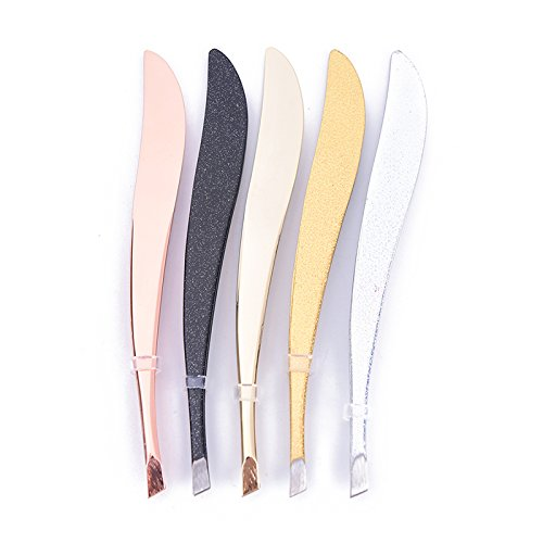 Haishell 5 Pcs Professional Stainless Steel Precision Eye Brows Slant Tip Tweezer Expert Precision Best for Plucking hair,5 Colors