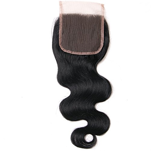 Lanyi Hair Free Part Human Hair Lace Closure Brazilian Hair Body Wave 130% Density Natural Black Color 18