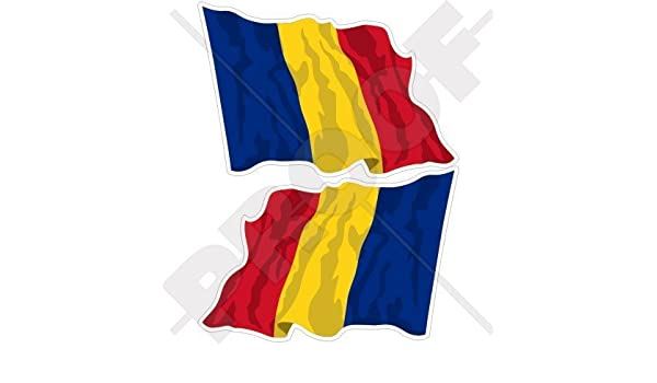 "Vinyl Bumper Stickers Decals x2 4,7/"" ROMANIA Romanian Flying Flag 120mm"
