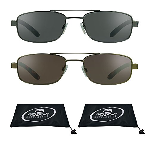 Pilot Square Aviator Reading Glasses Tinted Full Lens Sun Readers (Smoke + Brown Combo, - Small Sunglasses Aviator Square