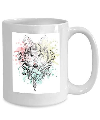 mug coffee tea cup black white wild animal wolf head tattoo doodle cketch boho style splash design shirt bag jacket Brown Red 110z -