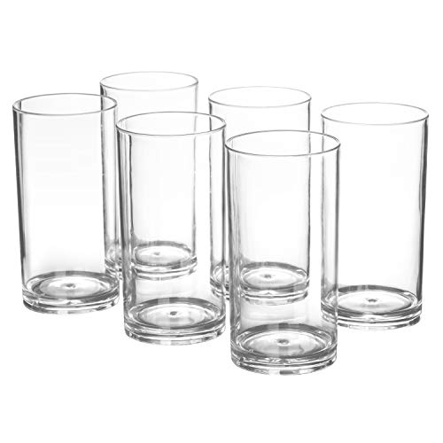 20-ounce Plastic Tumblers Dishwasher-Safe Premium Quality Juice Water Glasses BPA-free Clear Set of 6 Drinking Cups]()