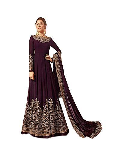 Range Of India Women's Anarkali Salwar Kameez Designer Indian Dress Ethnic Party Embroidered Gown Purple