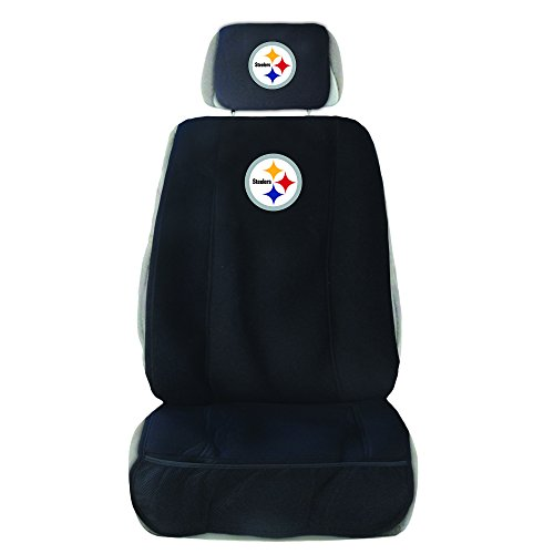 NFL Pittsburgh Steelers Seat Cover with Head Rest Cover, Black, One - Headrest Covers Team Logo Black