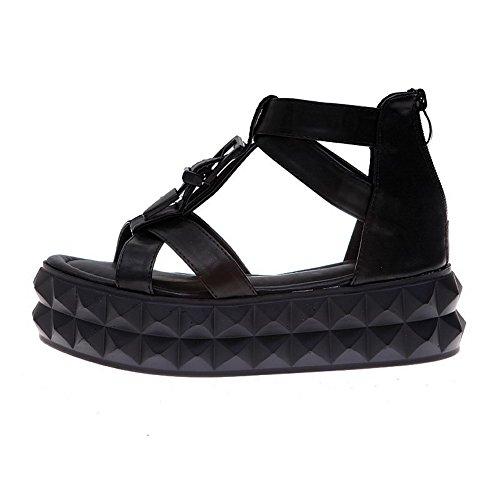 AmoonyFashion Womens Zipper Low Heels Pu Solid Open Toe Sandals Black oukdr9jRp
