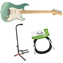Fender American Special Stratocaster 6-String Electric Guitar, 22 Frets, Maple Neck, Gloss Polyurethane, Mystic Seafoam - Bundle With Fender 10' Instrument Cable, Black, Fender Guitar Stand