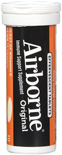 Airborne Zesty Orange Effervescent Tablets, 10 count - 1000mg of Vitamin C - Immune Support Supplement