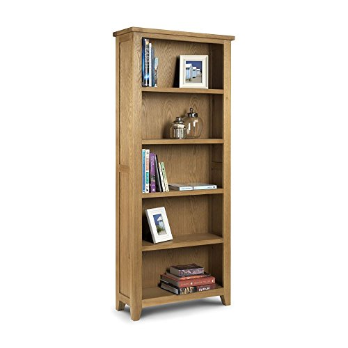 Happy Beds Astoria Waxed Solid Oak Tall Wooden Bookcase with 4 Fixed Storage Shelves
