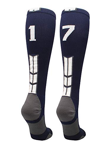 (MadSportsStuff Navy/White Player Id Over The Calf Number Socks (#17,)
