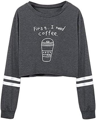 Amlaiworld Sudadera First i Need a Coffee niña otoño Camisa de Cuello Redondo Gris para Mujer Sudadera Informal de Manga Larga con Estampado de Letras Camiseta Blusas Tops: Amazon.es: Ropa y accesorios