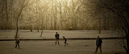 Photography Poster - Winter, Pond, Frozen, Hockey, Play, 24