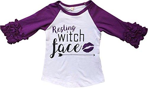 (Little Girl Kids Witch Face Ruffle Sleeve Raglan Cotton Shirt Top Tee T-Shirt Purple 8 XXXL (317275))