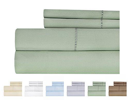 Weavely Sheet Set - Hemstitch Bedsheet 500 Thread Count 100% Cotton King Sheet Set, 4-Piece Bedding Set, Elastic Deep Pocket Fitted Sheet, Sage