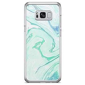 Samsung Galaxy S8 Transparent Edge Phone Case Liquid Marble Phone Case Liquid Green And Blue Samsung S8 Cover with See through edges