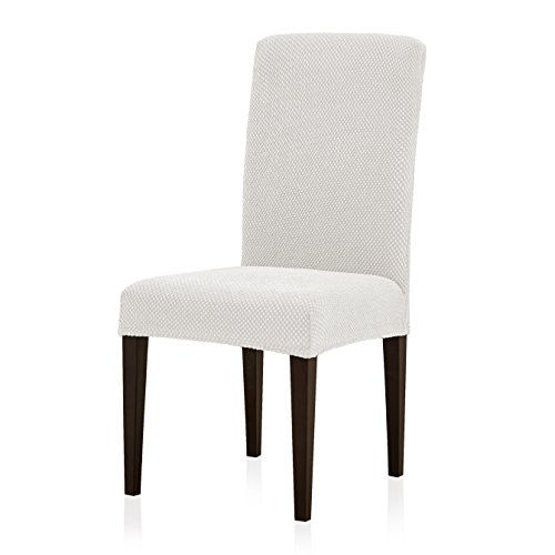 Subrtex Jacquard Dining Room Chair Slipcovers Sets Stretch Furniture Protector Covers for Armchair Removable Washable Elastic Parsons Seat Case for Restaurant Hotel Ceremony (2, Creme)