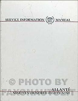 1989 cadillac allante repair shop manual original cadillac amazon rh amazon com Parts Manual Service Manuals