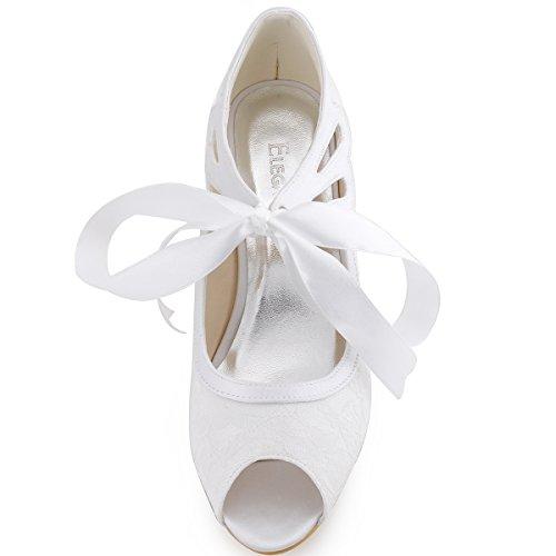 ElegantPark HP1522 Damen Peep Zehen Lace Pumps Brautschuhe Weiß
