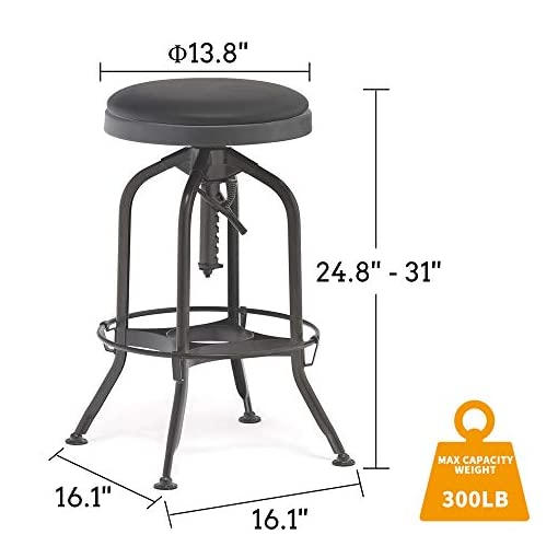 Farmhouse Barstools GAFURNITURE Steel Bar Stools with PU Leather Cushion Seat 360°Swivel Adjustable Counter Height Fully Assembled Kitchen… farmhouse barstools