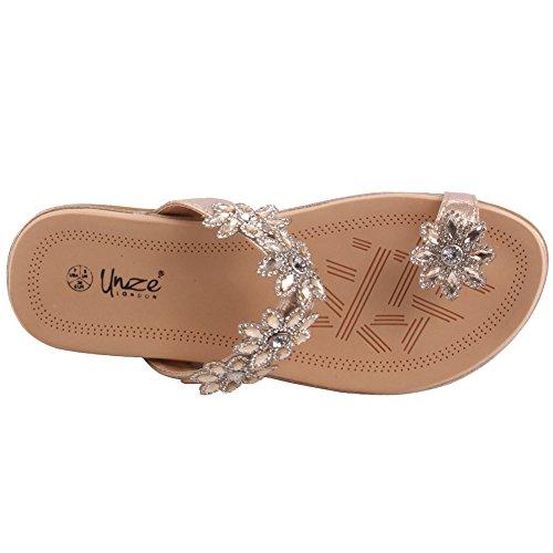 Unze Zapatillas de cuero embellecidas florales del verano de la playa del carnaval de Fevia de las nuevas señoras de las mujeres Tamaño del zapato 3-8 HlPChum