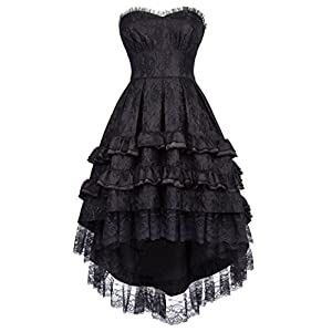 Belle Poque Steampunk Gothic Victorian Strapless Swallow Tail Dovetail Dress