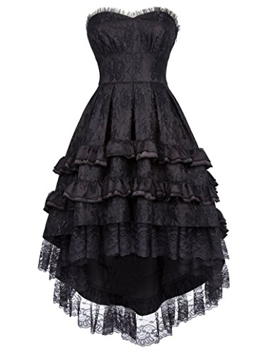 Belle Poque Steampunk Gothic Victorian Strapless Swallow Tail Dovetail Dress BP000346