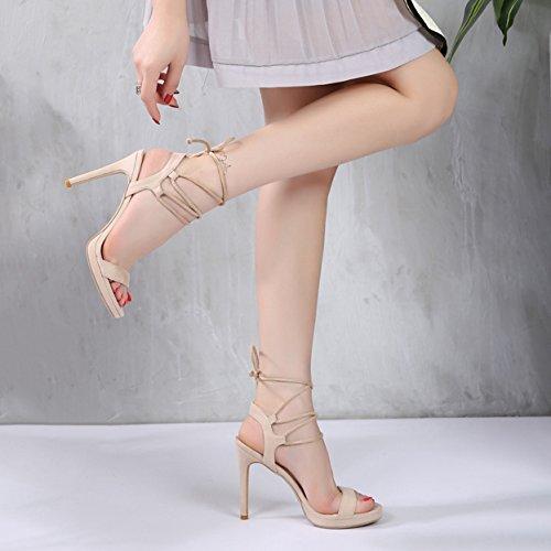 Alustan Nilkka Korkokengät Cross Muoti Naisten Mokka Hihna Sandaalit Stiletto tq7xff6wX