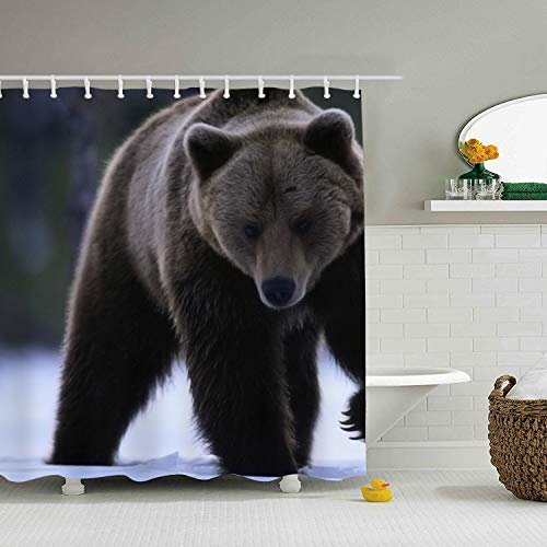nicell11 Bears Snow Animals Shower Curtain with Hooks, for Bathroom (Anpassen Oder Anpassen)