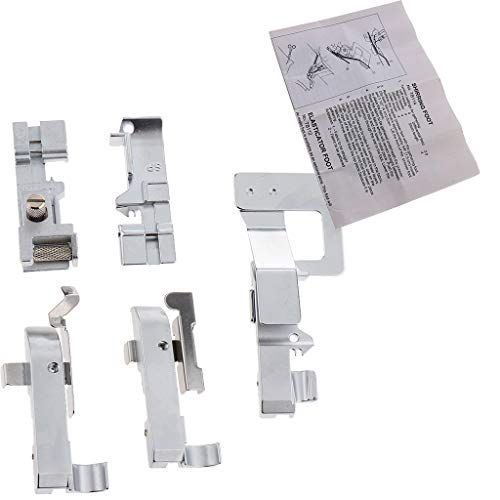 SM SunniMix 5pcs Home Overlock Machine Presser Foot Assembly with English Instructions for Tailor Dressmaker