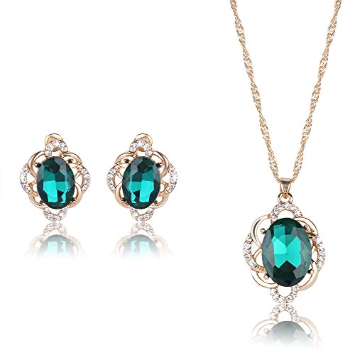 YIN E FANG Green flower Austrian crystal necklace earrings fashion jewelry set -